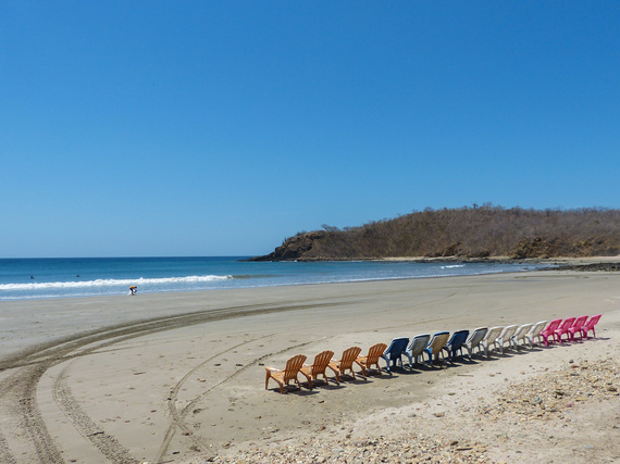 Chairs lined up on a beach in San Juan Del Sur Nicaragua